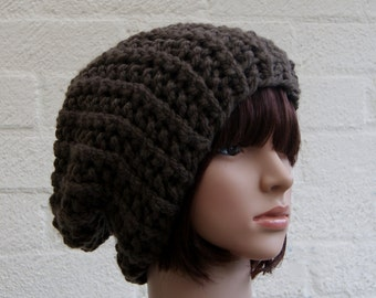 Chunky knit hat in Taupe/Slouchy Beanie hat/Knitted hat