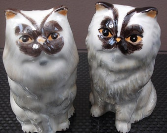 Persian Cats Salt and Pepper Pots Hand Painted Persian Cats Salt and Pepper Shakers