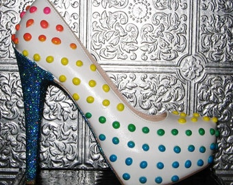 candy buttons polka dot heels with glittered soles and heels