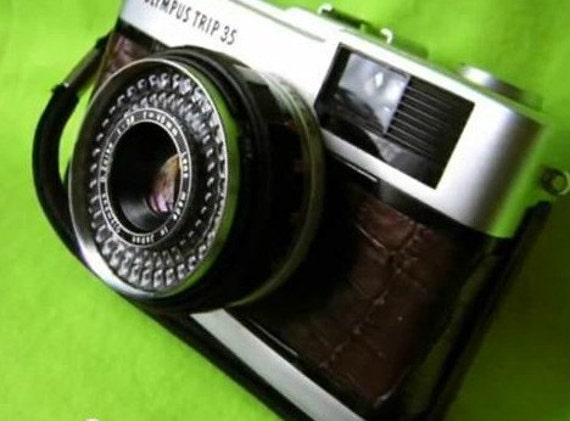 Olympus Trip 35 film camera -- rare tan crocodile effect covering -- fully refurbished