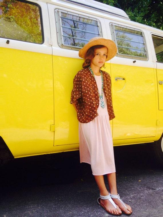 Girls Dress 90's Style Boho Low Waisted Cotton