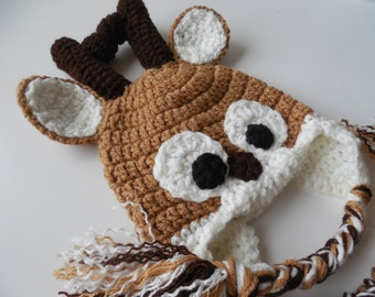 Crochet Reindeer Hat Photo Prop - Handmade Crochet - Christmas Hat - Size Baby to Adult - Made to Order