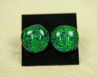 Post  Earrings, Dichroic Glass, Emerald Green,  er15