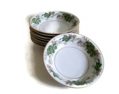 Vintage Noritake China,  Berry Dishes,  Daphne Pattern,  1950's,  Discontinued Set of 8, Green Ivy and Gold, 1952-1960, Small China Bowls