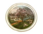 Vintage Currier and Ives Round Serving Tray American Homestead Spring Tin Tray American Art Colonial Life