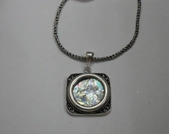 One Of A Kind Beautiful 925 Sterling Silver Pendant, Antique Roman Glass Pendant