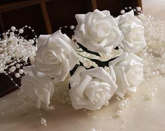 72 pcs White Roses Foam Fake Flowers For Bridal Bouquet Wedding Decor Table Centerpiece