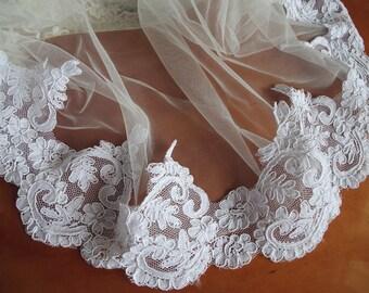 Lace trim, white alencon Lace Trim, wedding lace, cord lace, embroidered lace, trim lace, scalloped lace trim