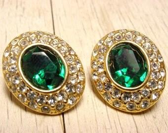 Roman Green and Clear Gold Tone Pierced Earrings (vintage retro emerald oval holiday christmas sparkly pretty dark fancy wedding bridal)