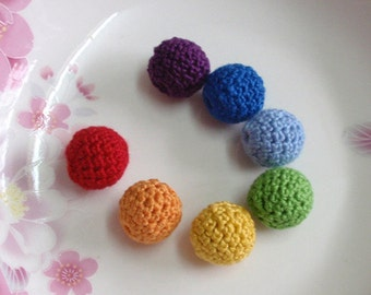 7 Crochet  Balls  in Rainbow (18 mm) YH - 165-02