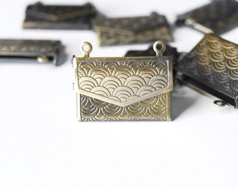 Brass Envelope Lockets - 4 pieces