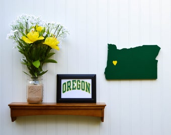 "Oregon Ducks ""State Heart"" wall art, handcrafted wood with official team colors"