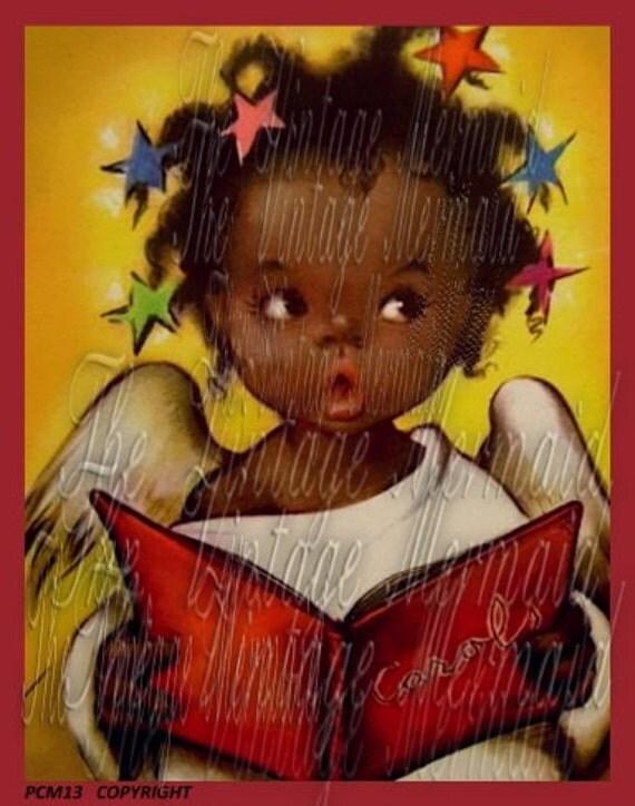 Black American Girl Fabric Block Vintage African American