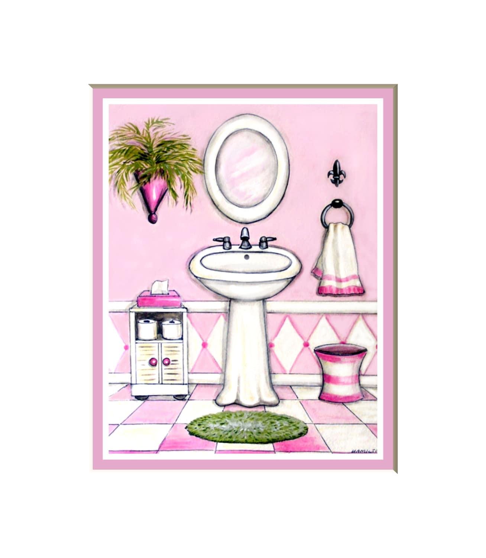Pink and white bath art print bath decor for girls feminine for Pink and white bathroom accessories