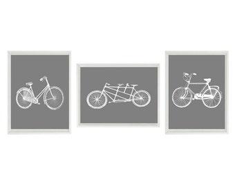 Bicycle Tandem Bike Vintage Wall Art Print  -White Gray - Nursery Children Room Dorm Home Decor