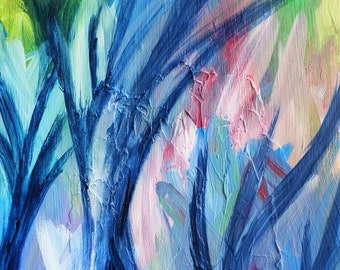 Original Acrylic Landscape.  The Trees Dance