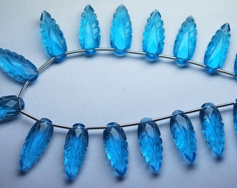 8 Inch Strand,13 Beads,Matched Pairs,Swiss Blue Quartz Carving Faceted Pear Shape Briolettes,8x16mm