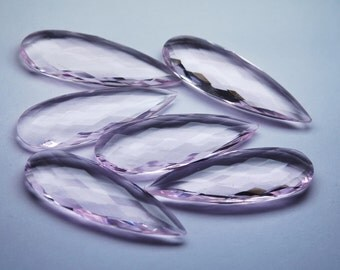2 Matched Pair,Rose Pink Quartz Faceted Pear Shape ,4 Piece of 35mm