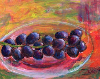 Colorful original small acrylic painting still life fruit grapes alla prima
