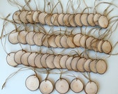 New - 50 Blank White Tree Branch tags - Wood Slices - Tree Slices - Wedding Decor - Shop Tags -.2  inches in diam.