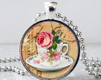 Tea Cup Pendant, Tea Cup Necklace, Rose Glass Art Pendant, Tea Cup Jewelry, High Tea Pendant, Rose Necklace, Rose Jewelry, Mother's Day Gift