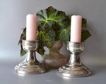 Pair of Silverplate Art Deco Candle Holders, 2 Crescent Silver Mfg Candle Sticks, Vintage Silver Plated Embossed Hollow Ware Tripple Plate