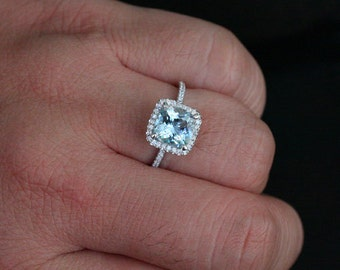 Cushion Aquamarine Engagement Ring in 14k White Gold with Aquamarine Cushion 8mm and Diamonds