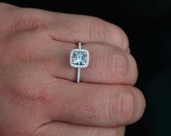 Natural Aquamarine and Diamond Engagement Ring 14k Rose Gold with Aquamarine Round 7mm and Diamonds (Also Available in Rose Gold)