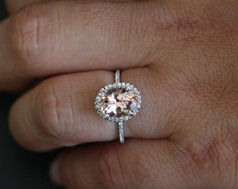HEAVILY DISCOUNTED PRICES Pink Morganite Oval Engagement Ring Morganite Halo Ring in 14k White Gold Oval 10x8mm and Diamond Halo