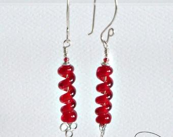 Ruby Spiral Earrings -- Red Twists -- Handmade Lampwork Beads -- Sterling Earwires