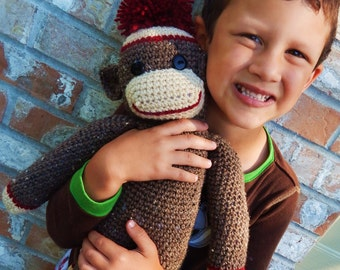 Crochet Sock Monkey Doll (Large)