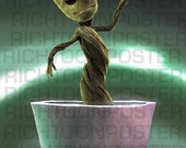 Print Unframed Baby Groot Dancing 5,5 x 8.5 inches