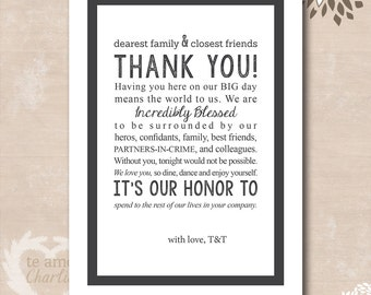 Personalized Wedding Thank You Card - Wedding Thank You Card Centerpiece