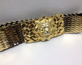 Lion Head Gilt Goldtone Buckle with Belt