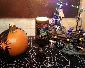 Shipyard Pumpkin Head Beer Bottle Candle with Pedestal (You select the scent)