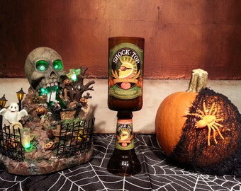 Shock Top Pumpkin Wheat Beer Bottle Candle with Pedestal (you select your scent)