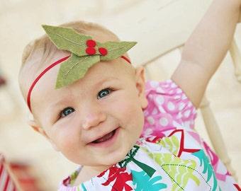 Baby Christmas Headband.Christmas Baby Headband.Holiday Baby Headband.Holiday Headband.Holly Berry Headband.Christmas Bow Headband.Christmas