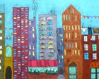 cityscape, giclee print on 10x22 inch enhanced matte paper.