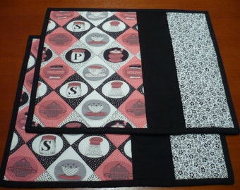 Patchwork Placemats Salt and Pepper Themed Fabric Pink and Black Quilted