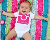 Custom Instagram Hashtag Baby Onesie - Fuchsia Camera Design
