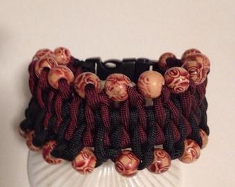 Wide Genoese Paracord Bracelet with Designer wood Beads