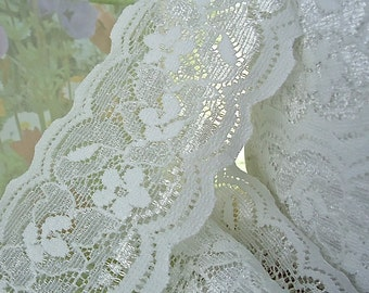 3 yds White Stretch Lace  2 3/8 wide Ribbon diy wedding garter lingerie Fabric Trim lace by the yards cute