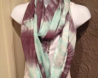 Tye dye scarf, hand dyed infinity scarf, rayon infinity scarf, gray and seafoam green infinity scarf