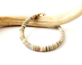 Boho Jewelry Tribal Shell Bracelet Shell Heishi bracelet - Natural Gray - Bohemian Jewelry Tribal Jewelry Ethnic - Simple Stackable Bracelet