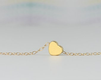 Tiny Gold Heart Necklace, Gold Necklace, Delicate Gold Jewelry, Everyday, Minimal Layering necklace, Love, Bridesmaid Gift,