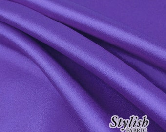"60"" Royal Purple Charmeuse Satin Fabric by the Yard, Charmeuse Fabrics, Charmeuse Satin, Bridal Wedding Satin Fabric- 1 Yard Style 2800"