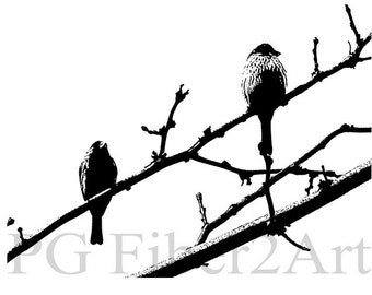 Thermofax Birds on Branch Screen