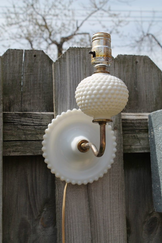 Milk Glass Wall Lamps : Hobnail Wall Light Milk Glass Wall Sconce Electric Milk