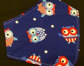 PATRIOTIC OWLS bib, teething, 4th of July, Veterans Day, Memorial Day, drool, Independence Day, dribble,  toddler, shower gift, baby, infant