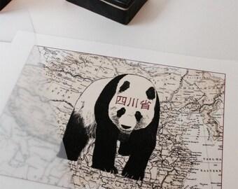 Panda on a vintage map // Buy 2 prints, get 1 Free